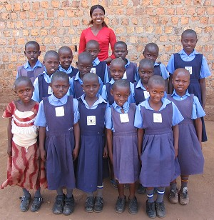 Ugandan School Children with their teacher